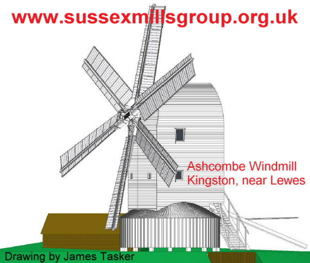 Scale drawing of Ashcombe Mill reconstruction by James Tasker